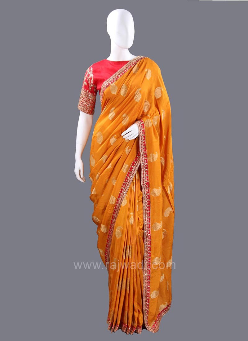 Banarasi Silk Mustard Yellow Paisley Saree with Blouse