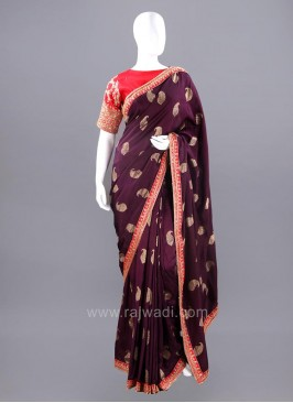 Banarasi Silk Paisley Saree with Stitched Blouse