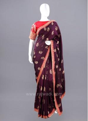 Banarasi Silk Paisley Saree with Stitched Blouse