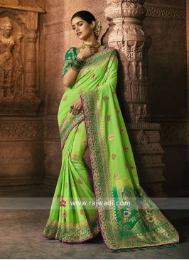 Banarasi Silk Party Wear Saree in Pista Green