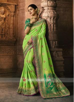 Banarasi Silk Party Wear Saree in Pista Green
