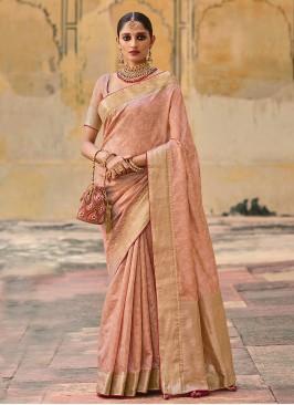 Banarasi Silk Peach Weaving Designer Saree