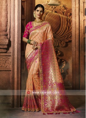 Banarasi Silk Peach Saree