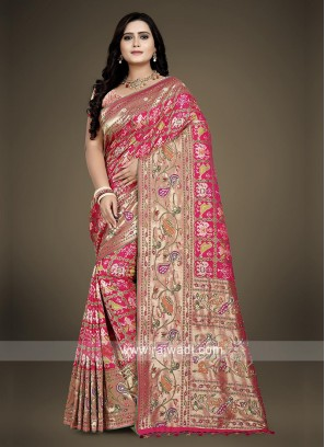 Banarasi Silk Pink Saree with blouse