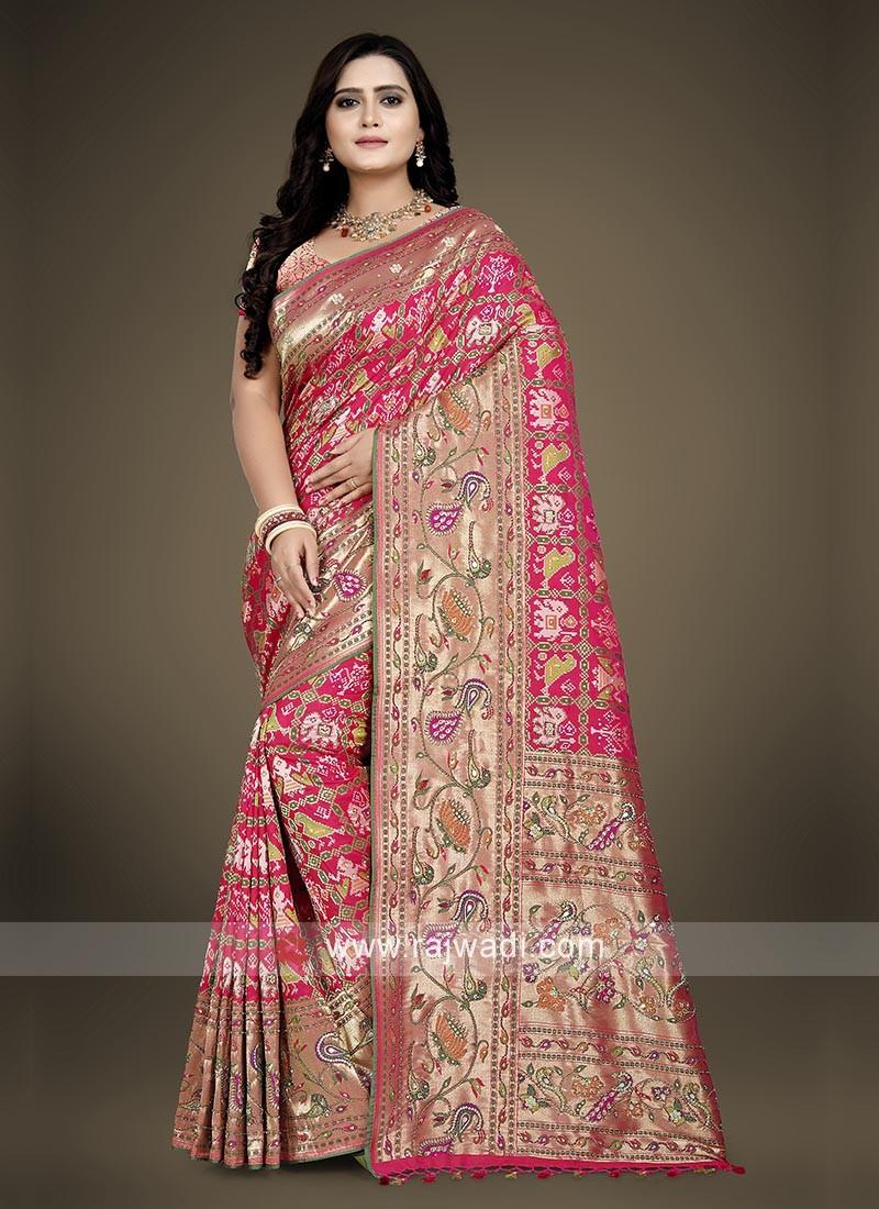 Banarasi Silk Pink Saree with blouse