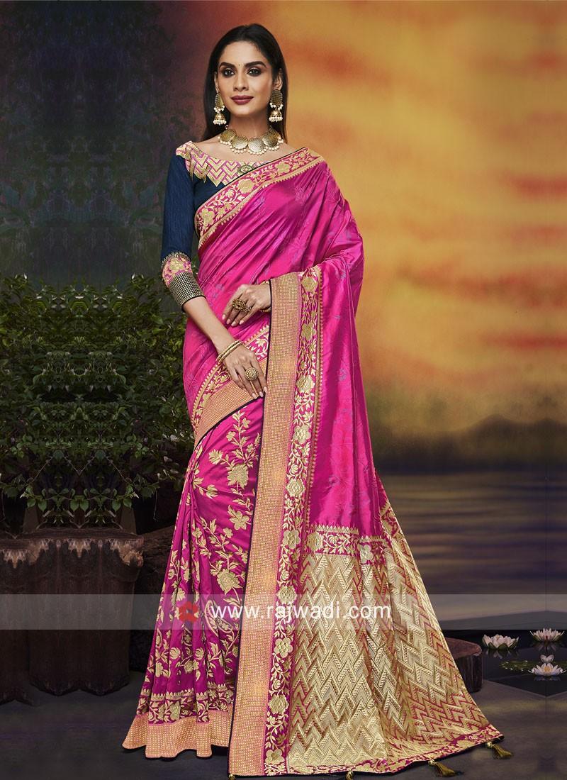 Banarasi Silk Pink Saree with Navy Blue Blouse