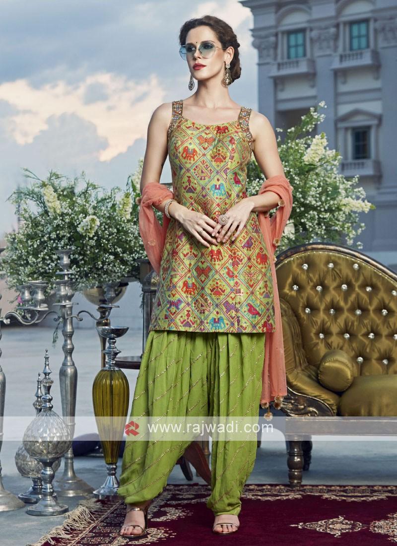 Banarasi Silk Plastic Mirror Work Patiala Suit