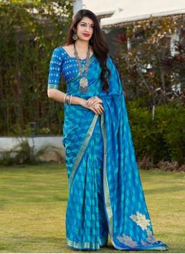 Banarasi Silk Print Blue Designer Traditional Saree