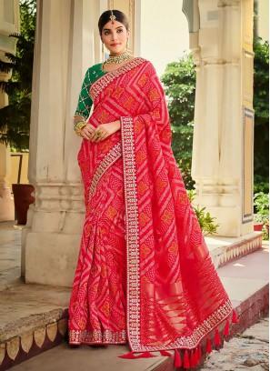 Banarasi Silk printed Saree In Red Color