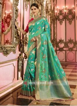 Banarasi Silk Rama Green Saree