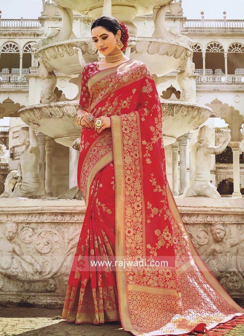 Banarasi Silk Reception Saree with Blouse