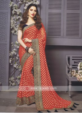 Banarasi Silk Red Designer Saree