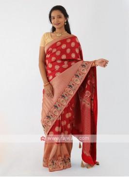 Banarasi Silk Red Saree