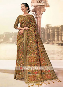 Banarasi Silk Saree In Beige Color