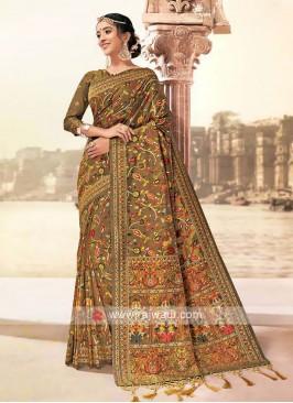 Banarasi Silk Saree In Beige Color
