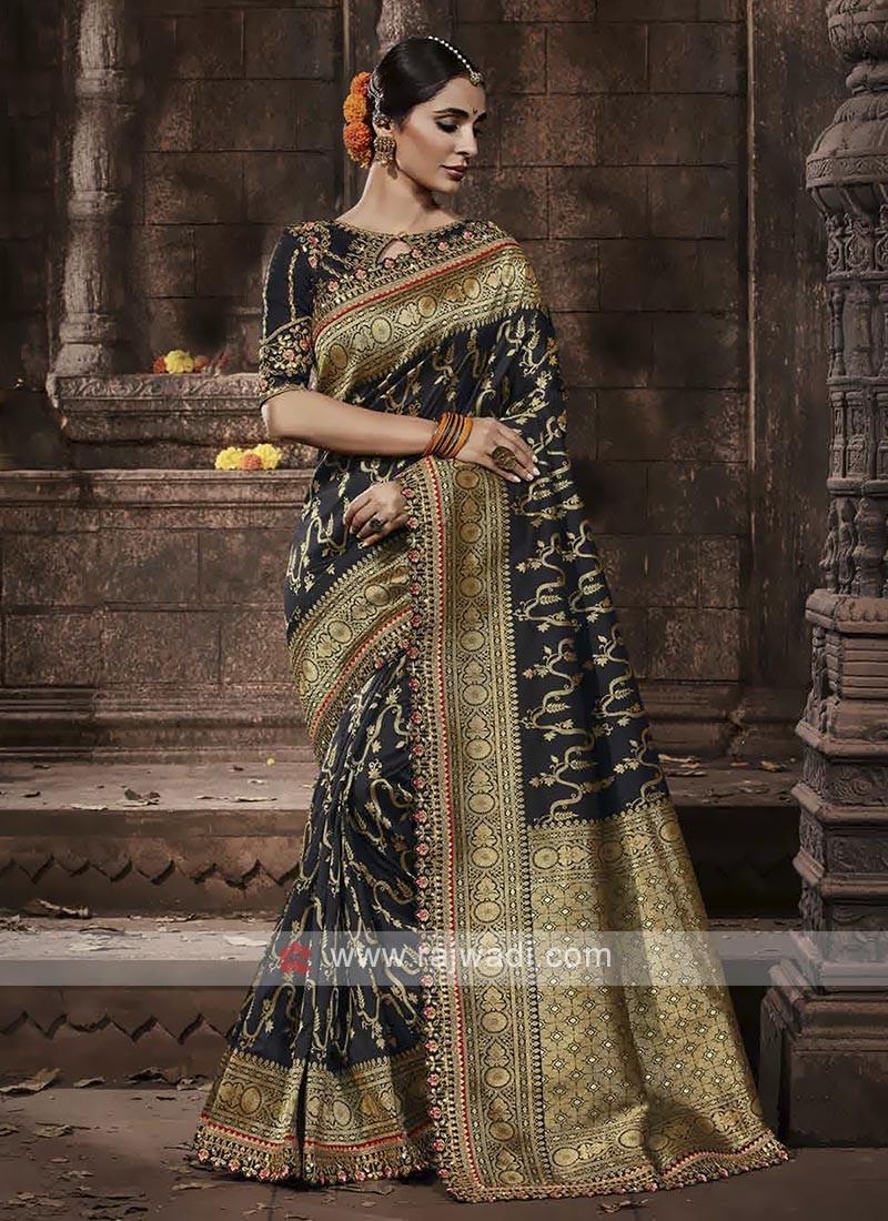 Banarasi Silk Saree In Black Color