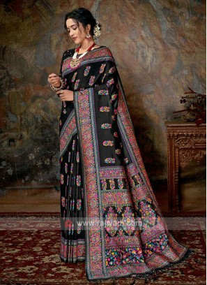 Banarasi Silk Saree In Black Color