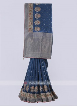 Banarasi silk saree in blue color