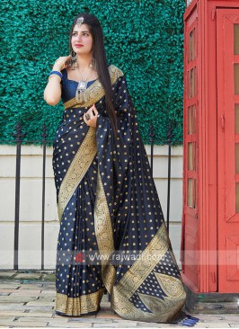 Silk Saree In Dark Blue
