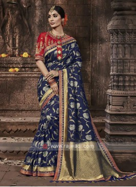 Banarasi Silk Saree In Dark Blue Color