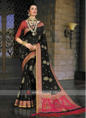 Banarasi Silk Saree In Dark grey
