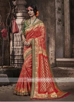 Banarasi Silk Saree In Dark Peach Color