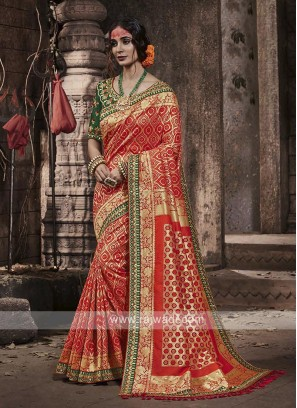 Banarasi Silk Saree In Dark Peach Color