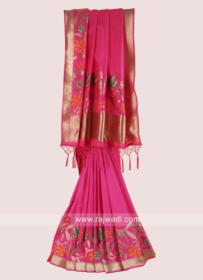 Banarasi Silk Saree in Deep Pink