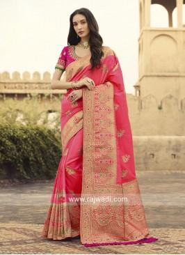 Banarasi Silk Saree in Gajari Pink