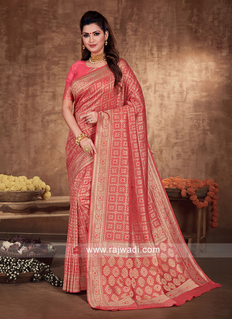 Banarasi Silk saree In Gajari Pink Color