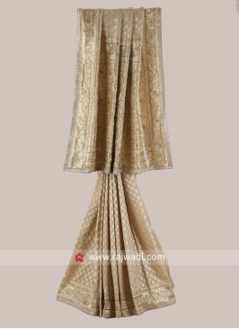 Banarasi Silk Saree in Golden Cream
