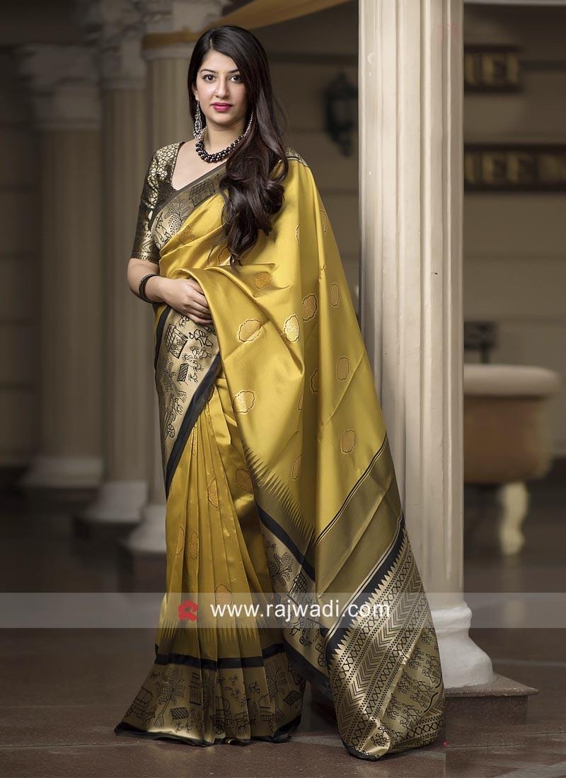 Banarasi Silk Saree in Golden Yellow