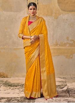 Banarasi Silk Saree In Golden Yellow Color
