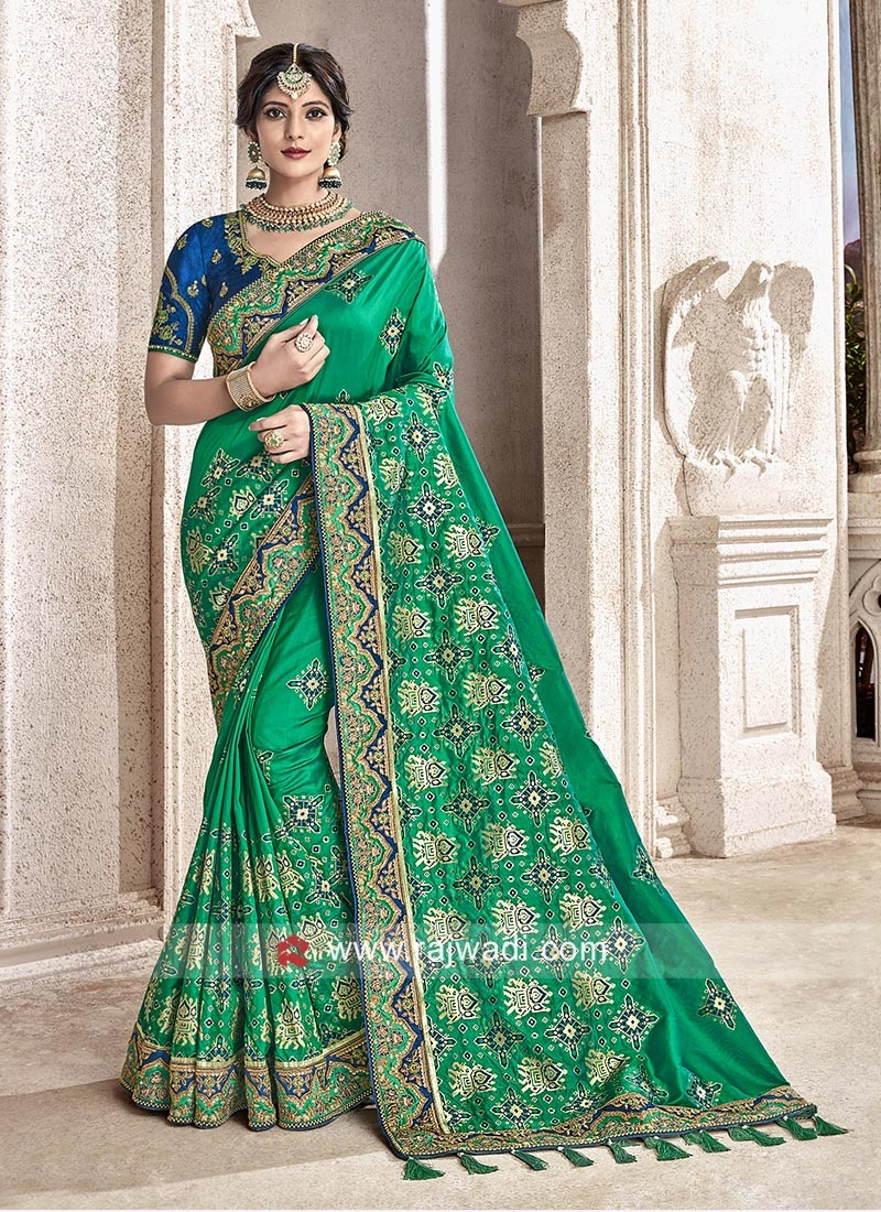 Banarasi Silk Saree in Green