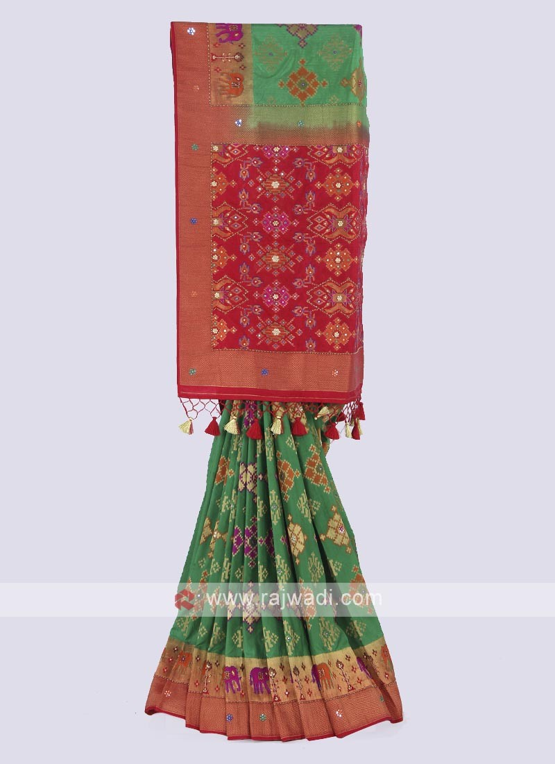 Banarasi silk saree in green and red color