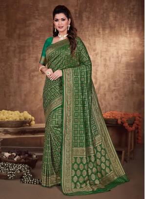 Banarasi Silk Saree In Green Color