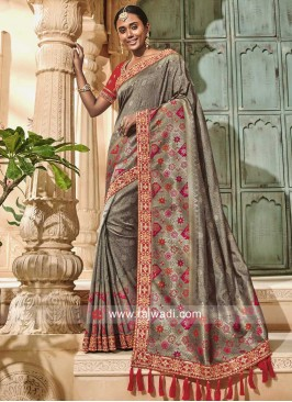 Banarasi Silk Saree in Grey