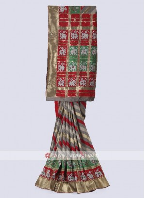 Banarasi silk saree in grey and red color