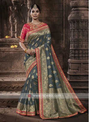 Banarasi Silk Saree In Grey Color