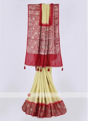 Banarasi silk saree in lemon and red color