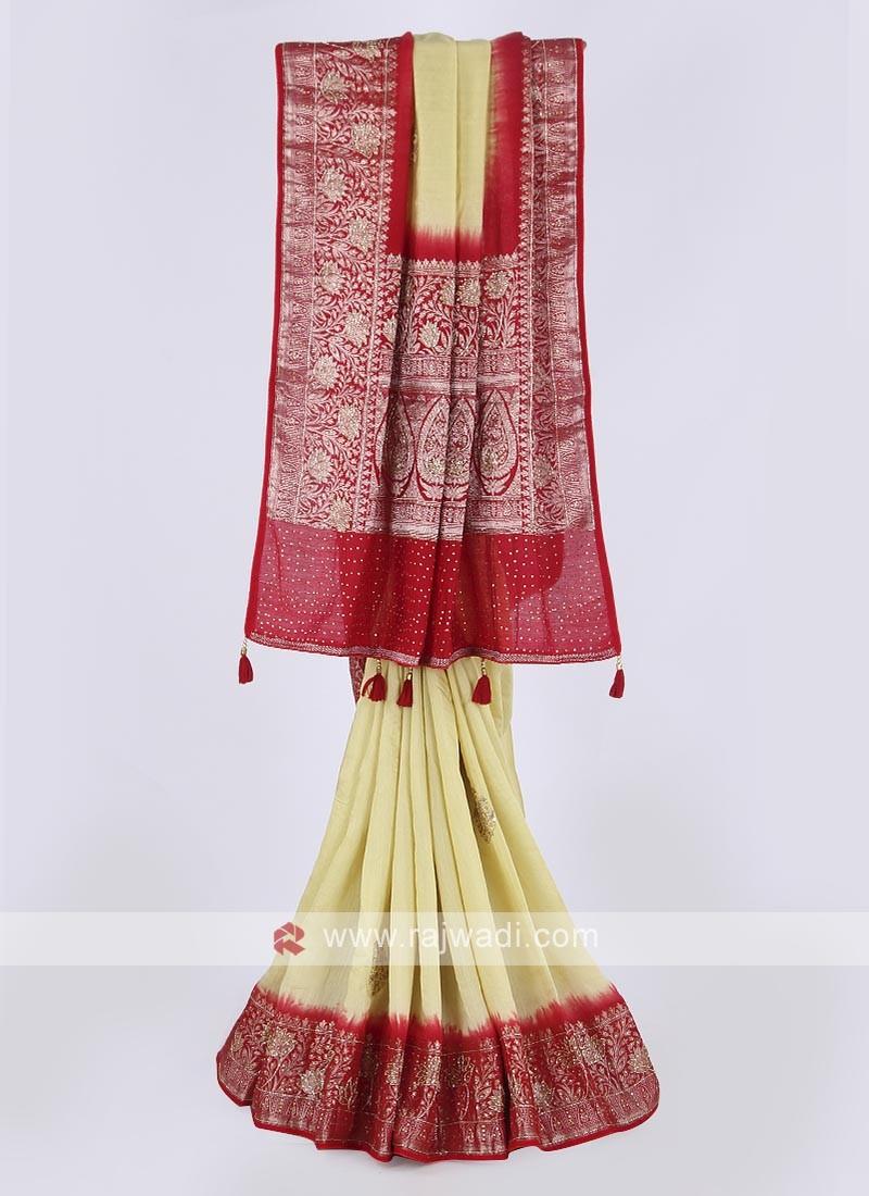 Banarasi silk saree in lemon and red color