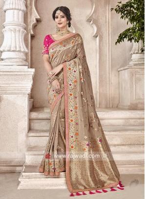 Banarasi Silk Saree in Light Brown