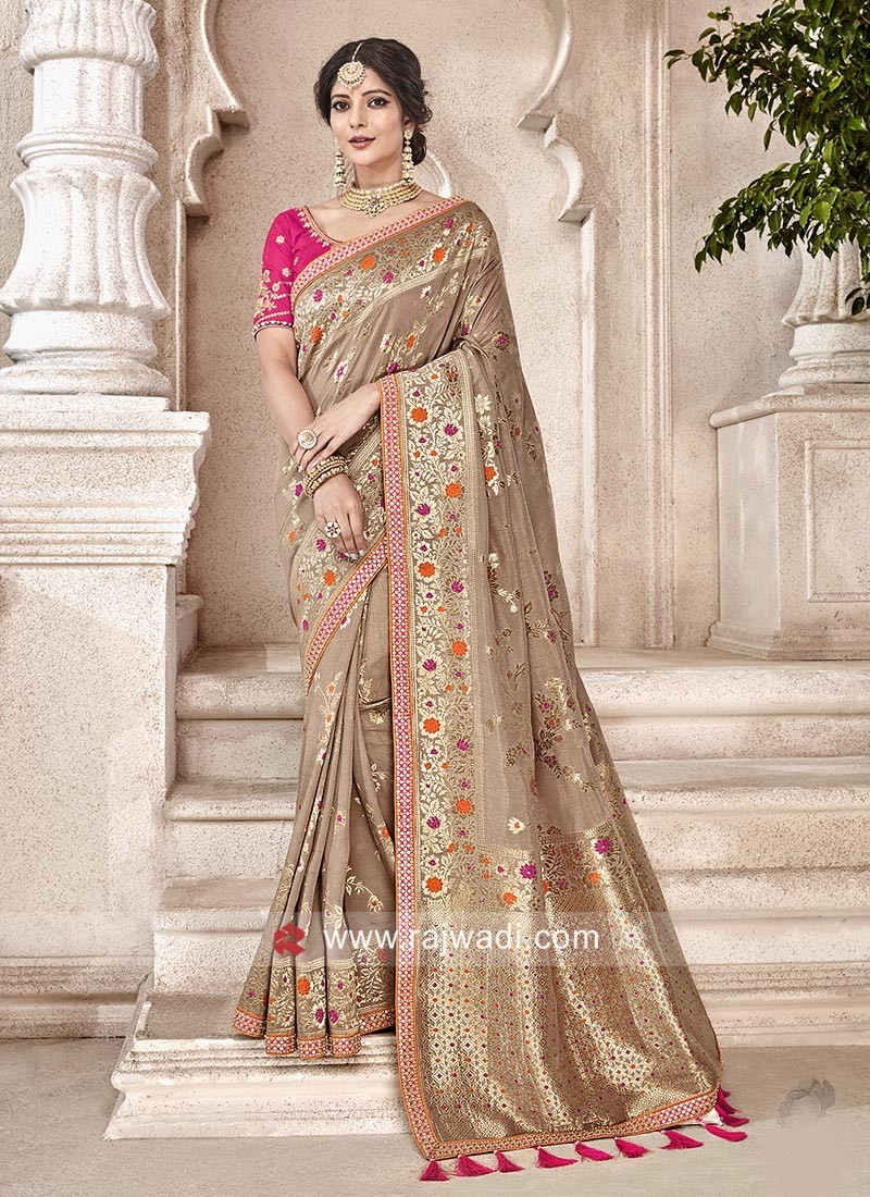 a533f8cd1c02e8 Banarasi Silk Saree in Light Brown. Hover to zoom