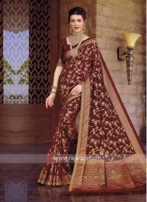 Banarasi Silk Saree In Maroon