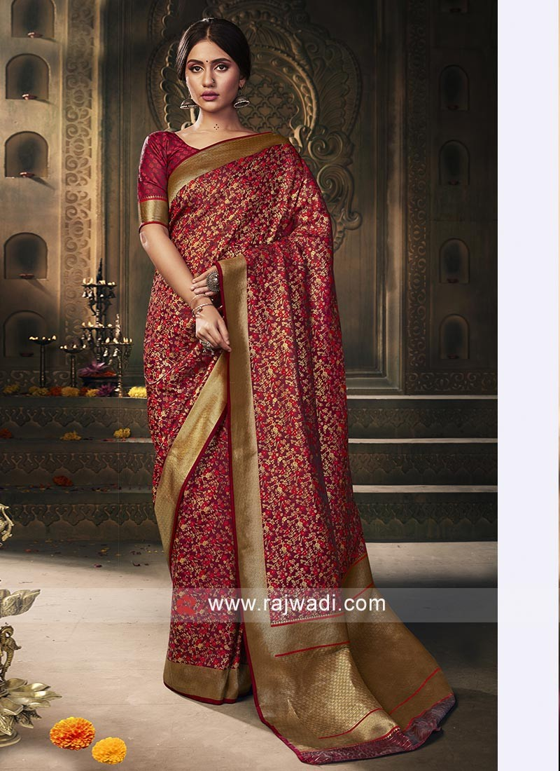 Banarasi Silk Saree In Maroon Color
