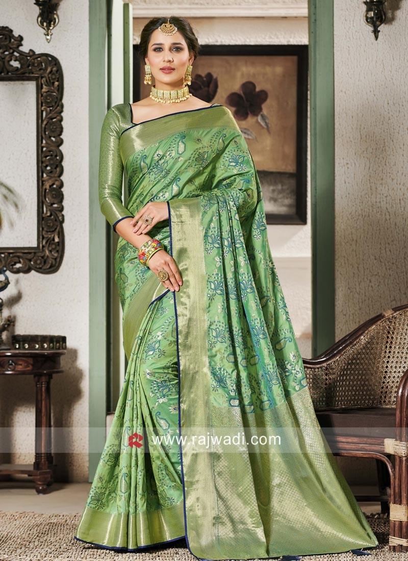 Banarasi Silk Saree In Medium Sea Green