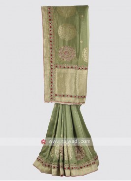 Banarasi silk saree in mehandi green color