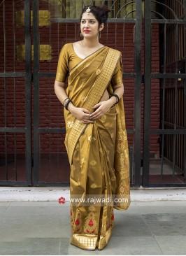 Banarasi Silk Saree in Mustard Yellow