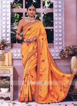 Banarasi Silk Saree in Mustard Yellow