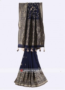Banarasi Silk Saree in Navy Blue